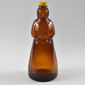 Vintage Amber Glass Mrs Butterworth's Bottle